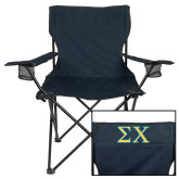 Deluxe Navy Captains Chair-Sigma Chi Greek Letters