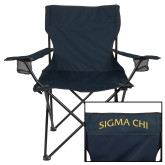 Deluxe Navy Captains Chair-Arched Sigma Chi