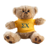 Plush Big Paw 8 1/2 inch Brown Bear w/Gold Shirt-Sigma Chi Greek Letters