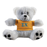 Plush Big Paw 8 1/2 inch White Bear w/Gold Shirt-Sigma Chi Greek Letters