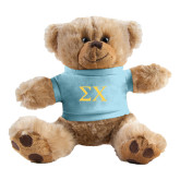 Plush Big Paw 8 1/2 inch Brown Bear w/Light Blue Shirt-Sigma Chi Greek Letters