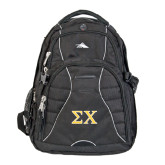 High Sierra Swerve Black Compu Backpack-Sigma Chi Greek Letters