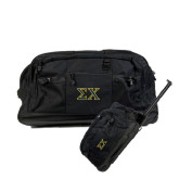 Urban Passage Wheeled Black Duffel-Sigma Chi Greek Letters
