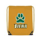 Gold Drawstring Backpack-Siena w/Paw