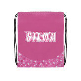Nylon Pink Bubble Patterned Drawstring Backpack-Siena