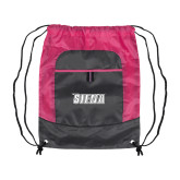 Nylon Pink Raspberry/Deep Smoke Pocket Drawstring Backpack-Siena