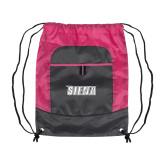 Nylon Pink Raspberry/Deep Smoke Pocket Drawstring Backpack-Siena