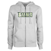 ENZA Ladies White Fleece Full Zip Hoodie-Siena