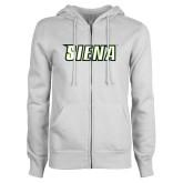 ENZA Ladies White Fleece Full Zip Hoodie-Siena