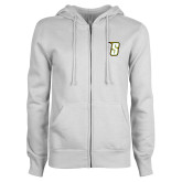 ENZA Ladies White Fleece Full Zip Hoodie-S