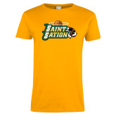 Ladies Gold T Shirt-Saint Sation