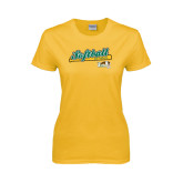 Ladies Gold T Shirt-Softball Bat