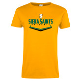 Ladies Gold T Shirt-Baseball Plate Design