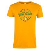 Ladies Gold T Shirt-Basketball Court Design