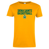 Ladies Gold T Shirt-Siena Saints Basketball