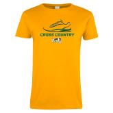 Ladies Gold T Shirt-Cross Country Shoe Design