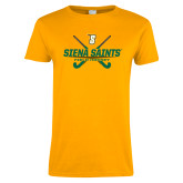 Ladies Gold T Shirt-Field Hockey Crossed Sticks