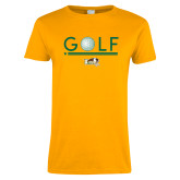 Ladies Gold T Shirt-Golf Ball Design