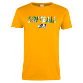 Ladies Gold T Shirt-Distressed Softball