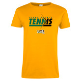 Ladies Gold T Shirt-Tennis Abstract Net
