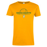 Ladies Gold T Shirt-Volleyball Ball Design