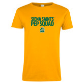 Ladies Gold T Shirt-Pep Squad Stacked