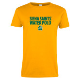 Ladies Gold T Shirt-Water Polo Stacked