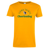 Ladies Gold T Shirt-Cheerleading Script Design