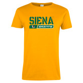 Ladies Gold T Shirt-Siena Saints Bar Design