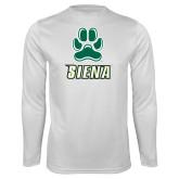 Performance White Longsleeve Shirt-Siena w/Paw