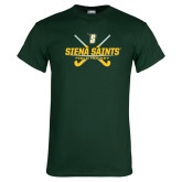 Dark Green T Shirt-Field Hockey Crossed Sticks