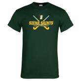 Dark Green T Shirt-Field Hockey Crossed Sticks
