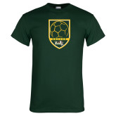 Dark Green T Shirt-Soccer Shield Design