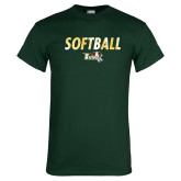 Dark Green T Shirt-Distressed Softball