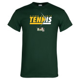Dark Green T Shirt-Tennis Abstract Net