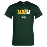 Dark Green T Shirt-Tennis Abstract Net