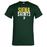 Dark Green T Shirt-Siena Saints Stacked
