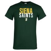 Dark Green T Shirt-Siena Saints Stacked