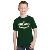 Youth Dark Green T Shirt-Baseball Plate Design