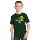 Youth Dark Green T Shirt-Modern Lacrosse Design