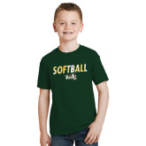 Youth Dark Green T Shirt-Distressed Softball