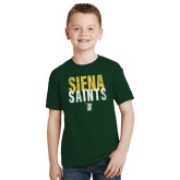 Youth Dark Green T Shirt-Siena Saints Stacked