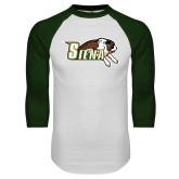 White/Dark Green Raglan Baseball T-Shirt-Official Logo