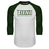 White/Dark Green Raglan Baseball T-Shirt-Baseball