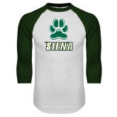 White/Dark Green Raglan Baseball T-Shirt-Siena w/Paw