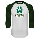 White/Dark Green Raglan Baseball T-Shirt-Siena w/Paw