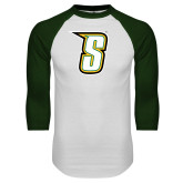 White/Dark Green Raglan Baseball T-Shirt-S