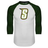 White/Dark Green Raglan Baseball T-Shirt-S