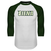 White/Dark Green Raglan Baseball T-Shirt-Siena