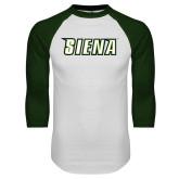 White/Dark Green Raglan Baseball T-Shirt-Siena